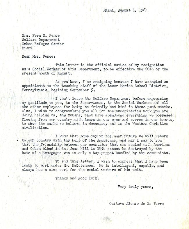 Gustavo Alonso de la Torre to Fern H. Pence, August 4, 1961