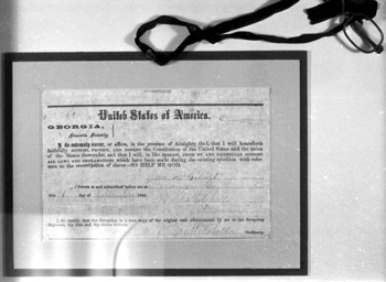 Oath of Allegiance to the United States, signed by Confederate soldier John Wiley Gilbert after the Civil War (1865)