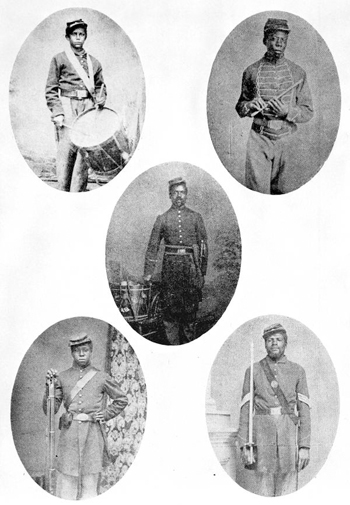 Five soldiers of the 54th Regiment of Massachusetts Volunteers (18--)