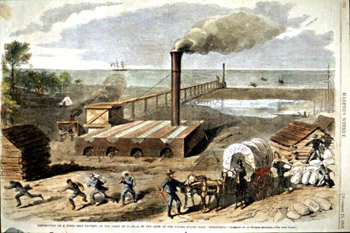 Destruction of a rebel salt factory on the Florida coast (1862)