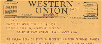 Western Union Telegram re: Scrap Rubber