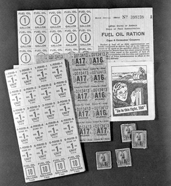 Fuel oil, gasoline and savings bond stamps (ca. 1943)