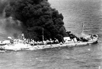 "Tanker ""Gulfland"" burning in the water: Hobe Sound, Florida (1942)"