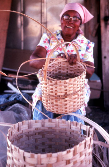 Lucreaty Clark completing her white oak basket (not after 1979)