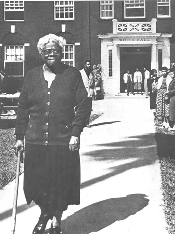 Mary McLeod Bethune in front of White Hall (194-?)