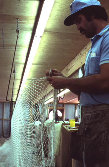 Billy Burbank III weaving a fishing net: Fernandina Beach, Florida (not after 1980)