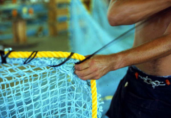 Trawl being made at Burbank Trawl Makers: Fernandina Beach, Florida (1982)
