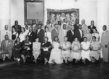 Group portrait of members attending the Brotherhood of Sleeping Car Porters convention in Washington, D.C. (195-)