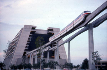 View showing monorail near Disney's Contemporary Resort hotel at the Magic Kingdom in Orlando, Florida (after 1971) 