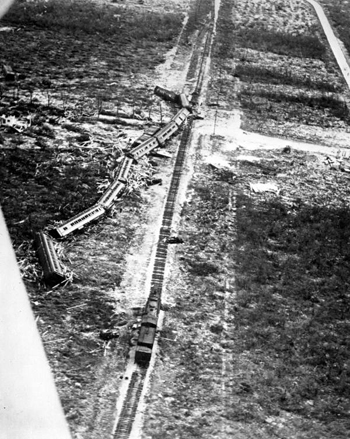 Rescue train swept off the tracks by the 1935 Labor Day hurricane (1935)