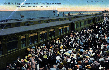 Henry Flagler's arrival with first train to enter Key West, Florida (1912)