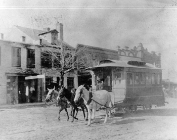 Tallahassee Railroad Company's mule drawn car proceeding south between Pensacola Street and Jefferson: Tallahassee, Florida (1894)