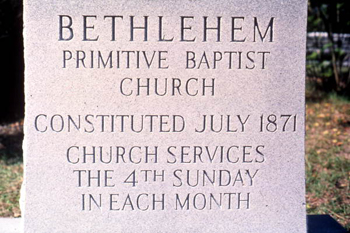 Incised stone slab of the Bethlehem Primitive Baptist Church: Old Chicora, Florida (not after 1978)