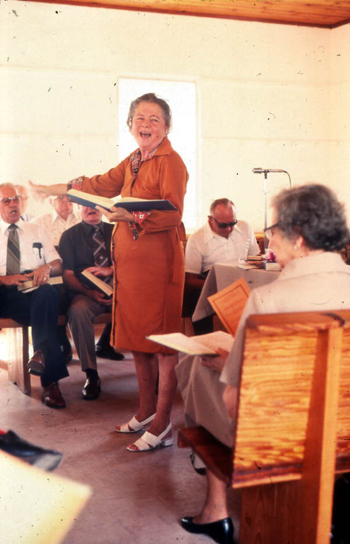 Woman leading Sacred Harp singing at the Bethlehem Primitive Baptist Church: Old Chicora, Florida  (not after 1978)