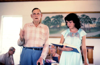 Old man leading Sacred Harp singing at the Bethlehem Primitive Baptist Church: Old Chicora, Florida (not after 1978)