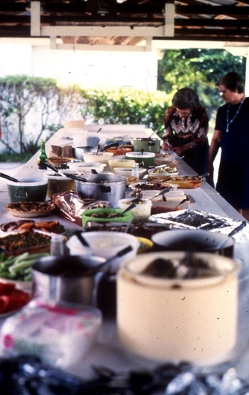 Food laid out for members of Bethlehem Primitive Baptist Church: Old Chicora, Florida (not after 1978)