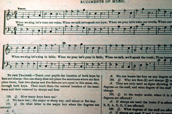 &quot;Rudiments of Music&quot; from a revised copy of the &quot;Sacred Harp&quot; by W.M. Cooper : Old Chicora, Florida (not after 1979)