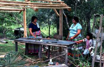 Mary B. Billie and daughter Claudia C. John by a table under a partially built chickee: Big Cypress Seminole Indian Reservation, Florida (not after 1980)