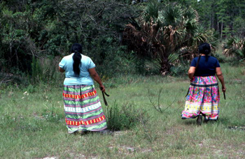 Mary B. Billie and daughter Claudia C. John in search of palmetto fibers to make dolls: Big Cypress Seminole Indian Reservation, Florida (not after 1980)