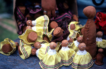Collection of Seminole dolls in the process of being made by Mary Billie: Big Cypress Seminole Indian Reservation, Florida (not after 1980)