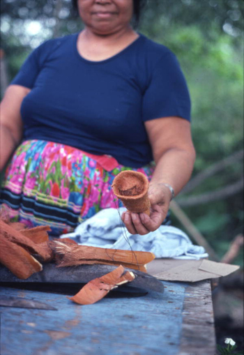Mary Billie displaying work after stuffing Seminole doll with palmetto fibers: Big Cypress Seminole Indian Reservation, Florida (not after 1980)