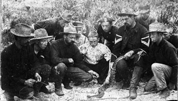 2nd Virginia Volunteers playing with a rattlesnake: Pablo Beach, Florida (1898)