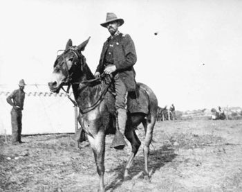 Spanish-American War officer on a mule (1898)