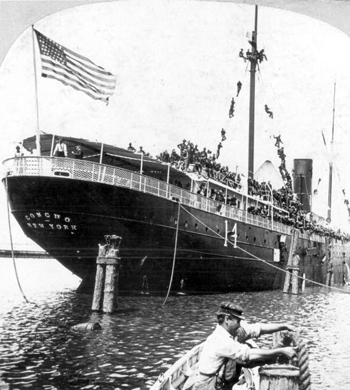 "Roosevelt's Rough Riders leaving Tampa aboard the transport ""Concho"" headed for Santiago de Cuba"