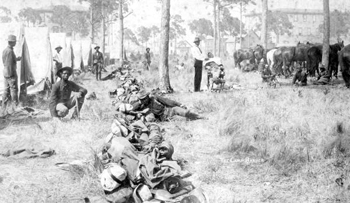 Camp barber at work during the Spanish-American war (1898)