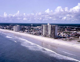 Aerial view of hotels at the beach : Jacksonville, Florida