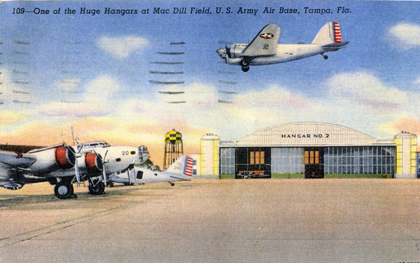 One of the huge hangars at MacDill Field, U.S. Army Air Base, Tampa, Fla.