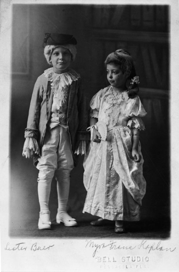 Lester Buer and Myra Franc Kaplan dressed for Mardi Gras.