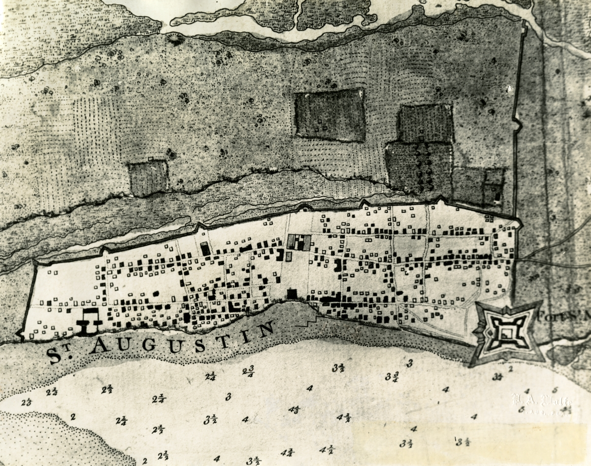 Map of St. Augustine showing defenses of the city during English occupation 1763-1783.