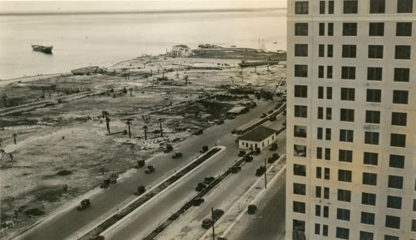 Bayfront Park viewed from roof of Everglades Hotel following hurricane in Miami.