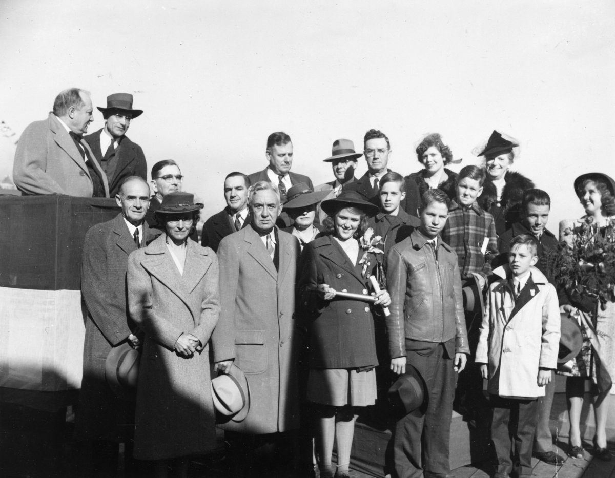 Group portrait of Florida's delegation of junior scrappers at the Mobile, Alabama launching of the U.S. Liberty Ship Colin P. Kelly Jr.