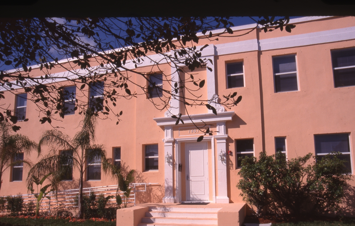 Photographs of Pine Ridge Hospital apartments in the Northwest Historic District of West Palm Beach.