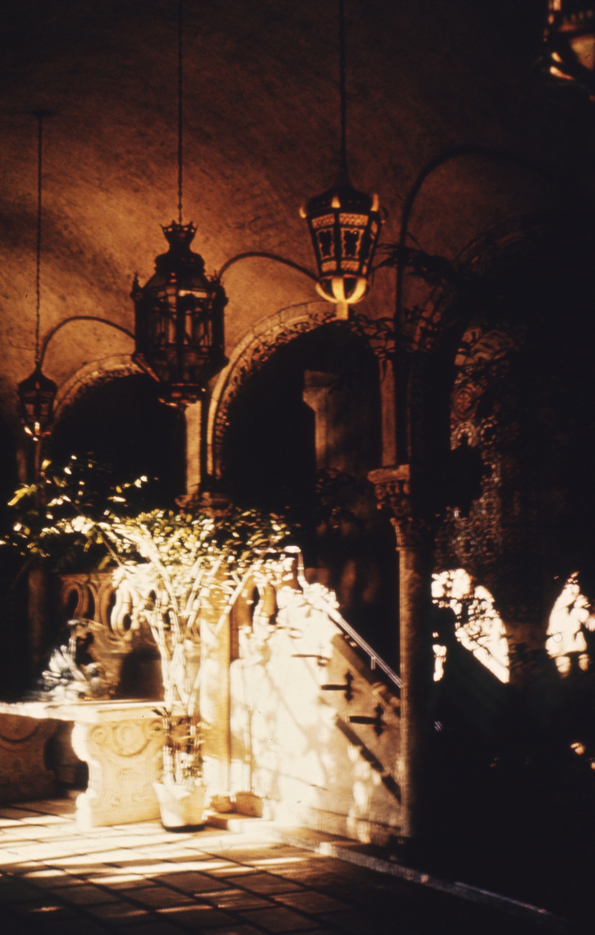 Close-up view of cloister at the Mar-A-Lago mansion in Palm Beach.