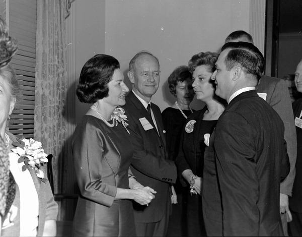 First Lady Lady Bird Johnson standing beside Governor of Florida Farris Bryant.