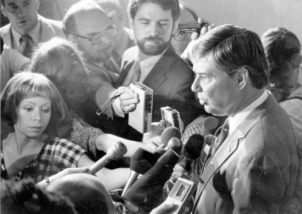 Florida Governor Bob Graham answering questions from the press.