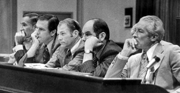 """House Rules Committee listening to arguments of """"Unisex"""" amendment supporter."""