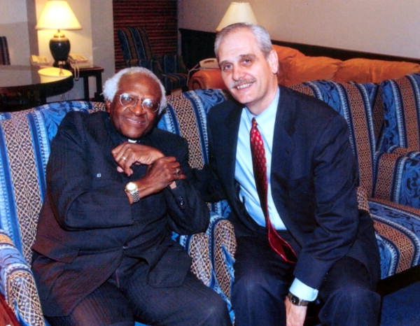 """House Sergeant at Arms Earnest W. """"Earnie"""" Sumner getting his portrait taken with Bishop Desmond Tutu during his visit to Tallahassee for Black History Month."""