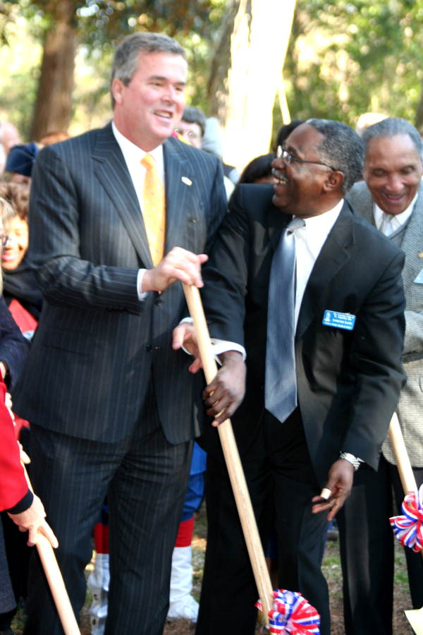 Governor Jeb Bush with Lorenzo Laws during groundbreaking ceremony at Fort Mose - Saint Johns County, Florida.