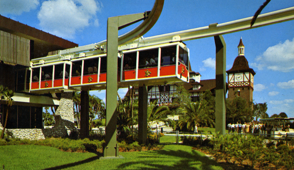 Close-up view of skyrail at the Busch Gardens theme park in Tampa, Florida.