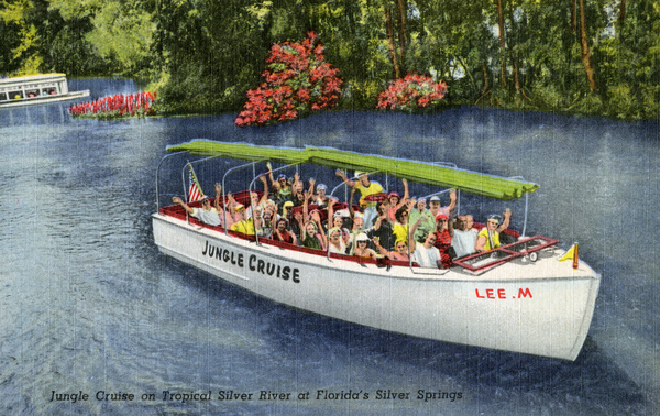 Jungle Cruise on Tropical Silver River at Florida's Silver Springs.