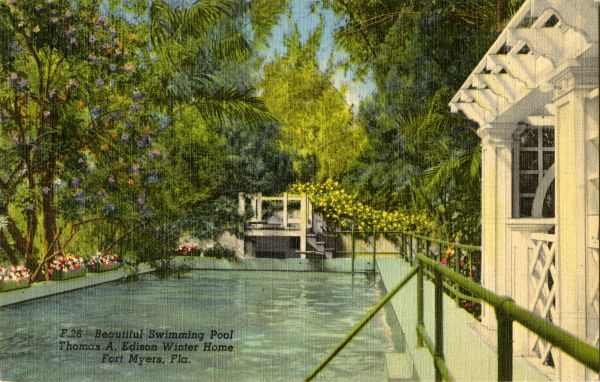 Beautiful swimming pool at the Thomas A. Edison Winter Home in Fort Myers.
