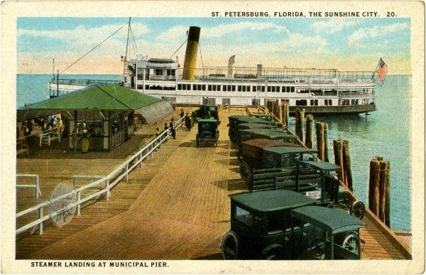 Steamer landing at Municipal Pier in St. Petersburg.
