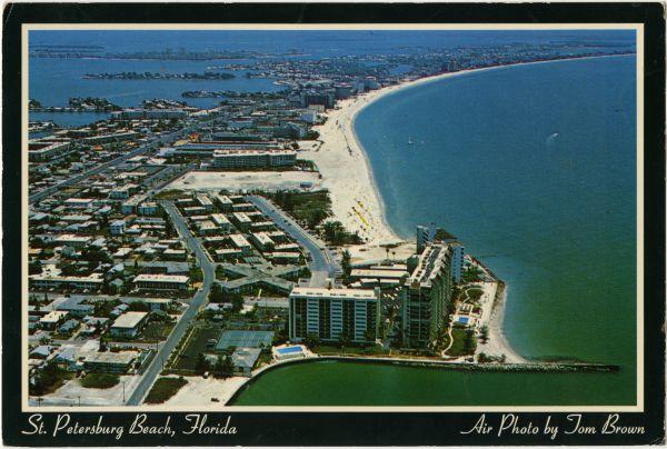 Aerial view looking south over St. Petersburg Beach.