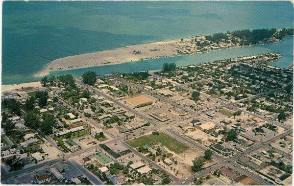 Aerial view looking west over St. Petersburg Beach.