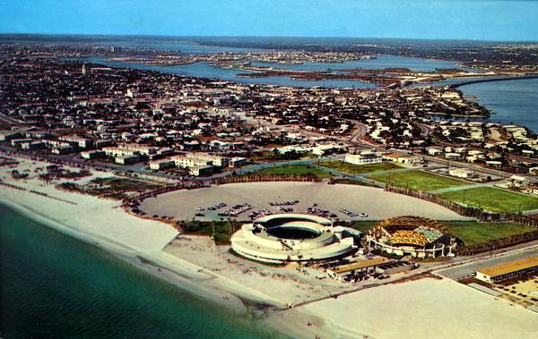 Air view of Saint Petersburg Beach and the Aquatarium..