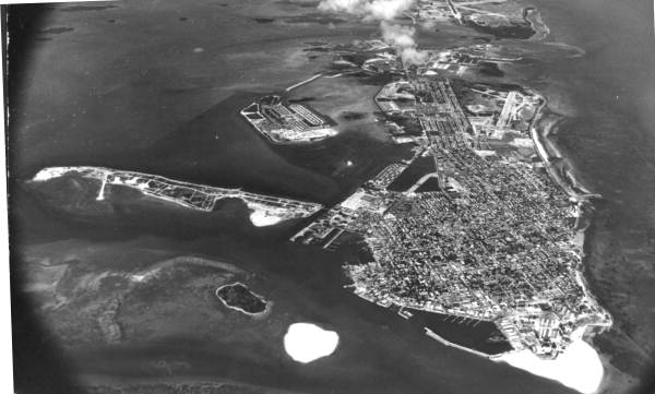 Aerial view looking east over the city - Key West, Florida.
